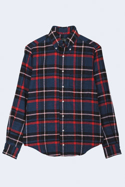 Rough Check Flannel Oxford Button Down Shirt in Navy
