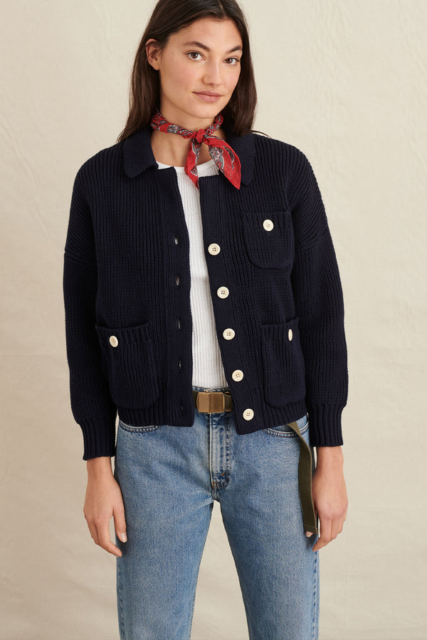 Women's Work Sweater Jacket in Dark Navy