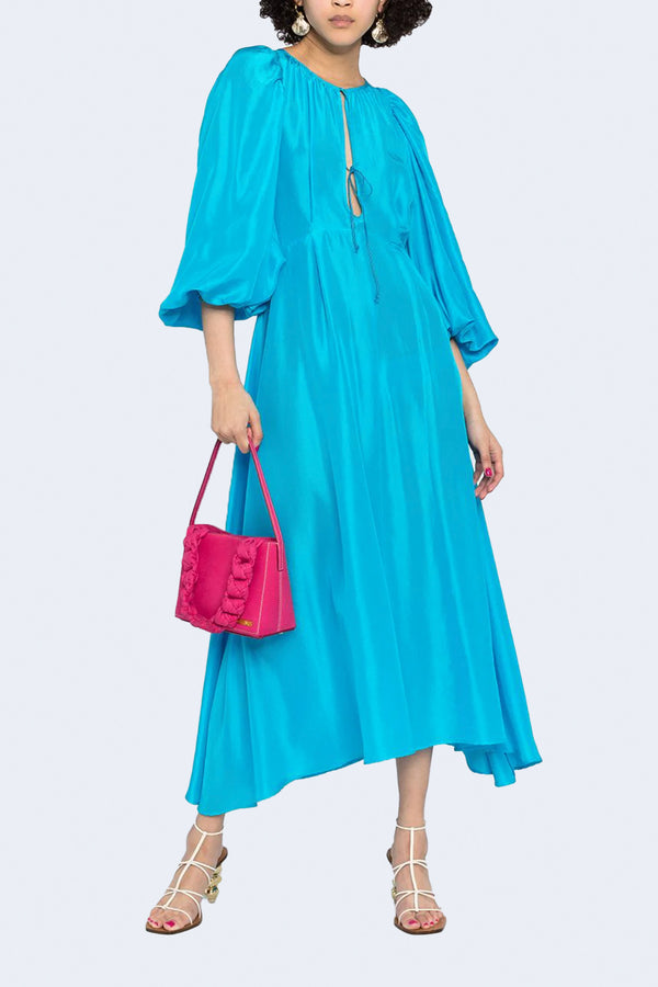 Habotai Silk Long Dress in Mare