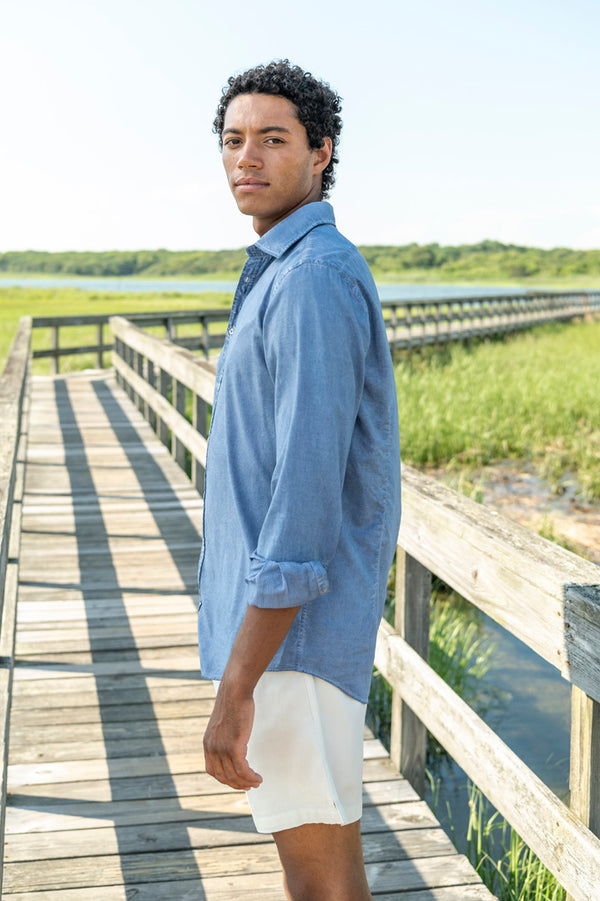 Canary Cotton Button Down Shirt in Azzurro