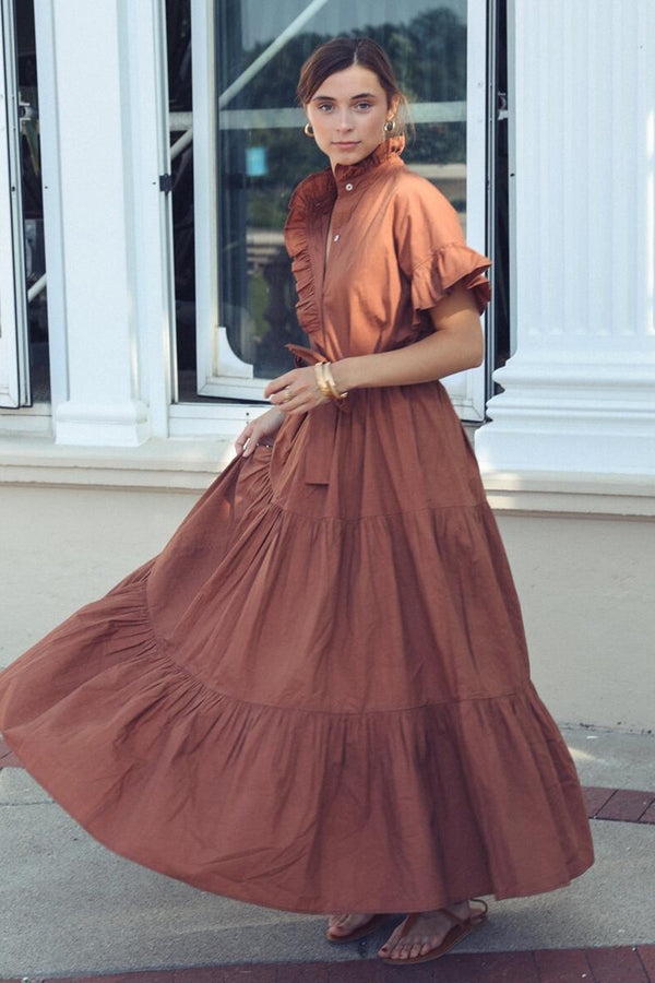 Victoria Puff Sleeve Tiered Dress in Clay