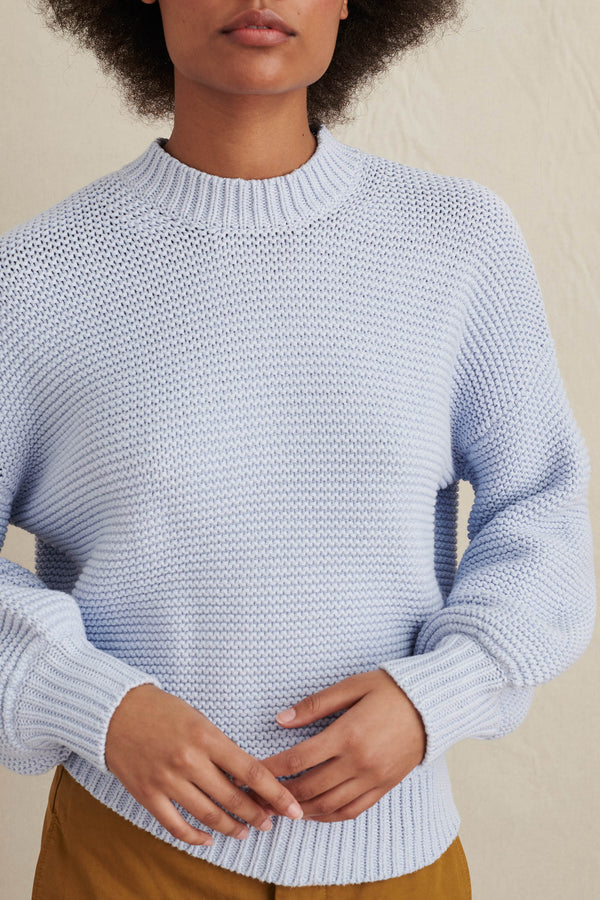 Women's Button-Back Crewneck Sweater in Pale Blue
