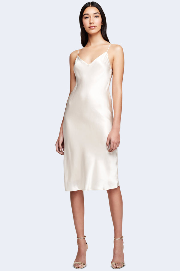 Jodie V-Neck Slip Dress in Champagne
