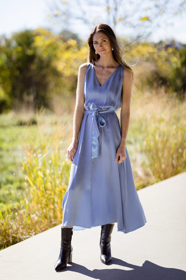woman modeling Chic Satin Belted Dress on Hamptons Farm