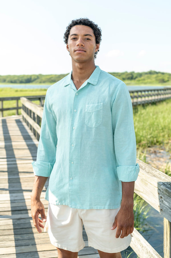 JS Piping Pigment Dyed Cotton Linen Shirt in Bleached Sage
