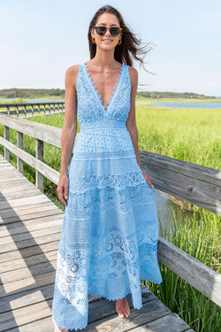 Laquila Lace Maxi Dress in Cielo