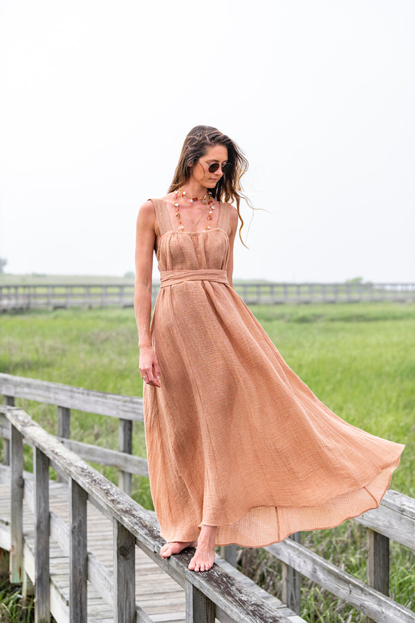 Assiout Wrap Belted Dress in Terracotta