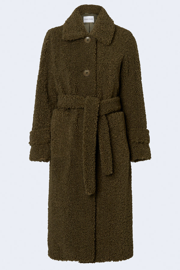 Lottie Faux Fur Kozak Coat in Army Green