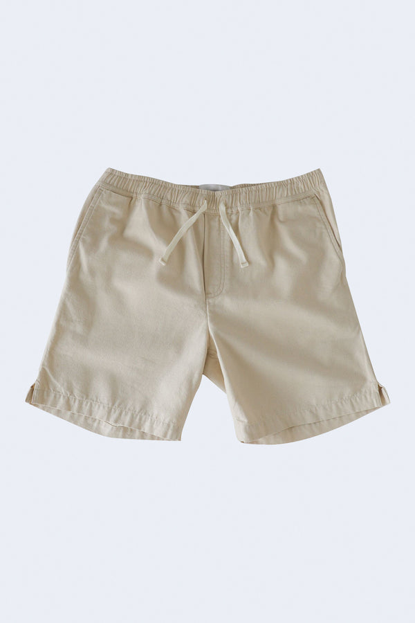 Garment Dye Cotton Seed Drawstring Shorts in Natural