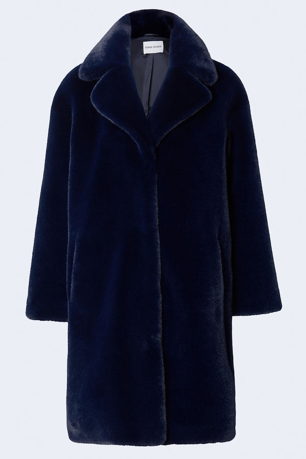 Camille Cocoon Faux Fur Soft Teddy Coat in Navy