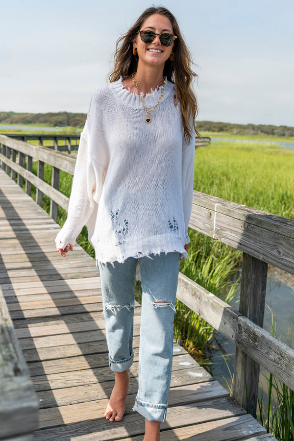 Women's Distressed Cashmere Patti Sweater in Ecru
