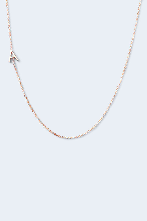 """A"" Alphabet Letter Necklace - Rose Gold"