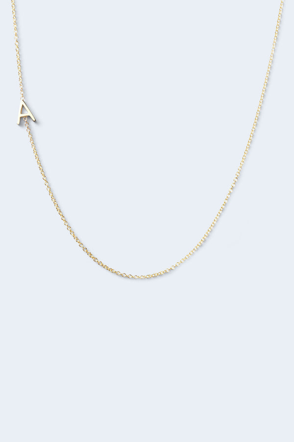 """A"" Alphabet Letter Necklace - Yellow Gold"