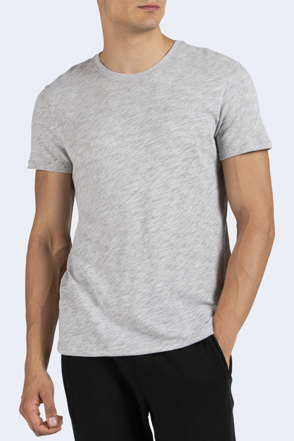 Men's Slub Jersey Short Sleeve Crew in Heather Grey
