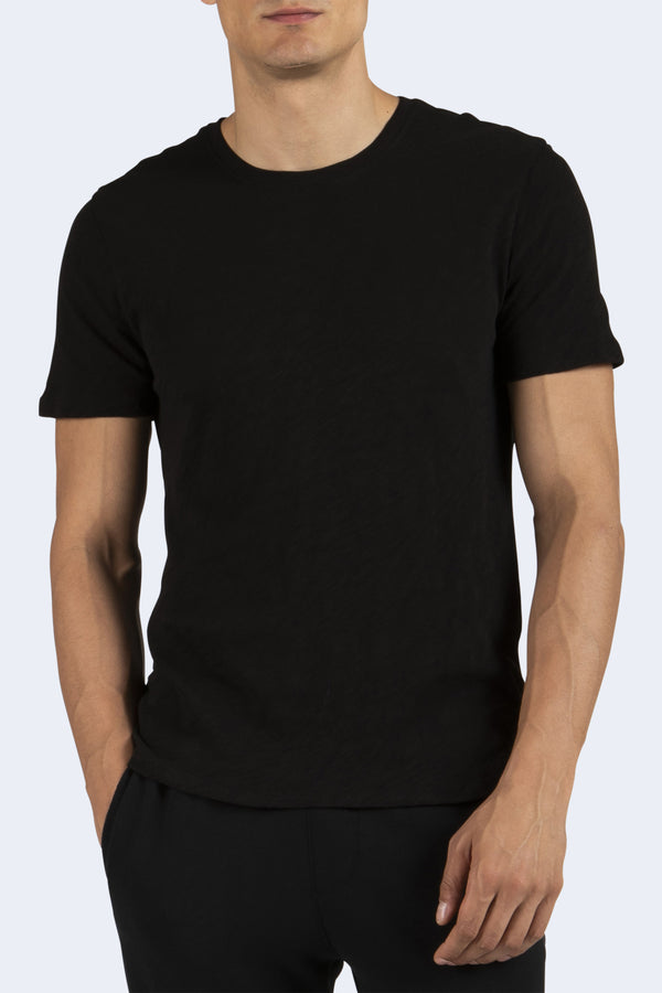 Men's Short Sleeve Cotton Crew in Black