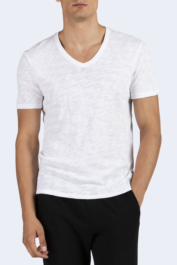 Men's V-Neck Cotton T-Shirt in White