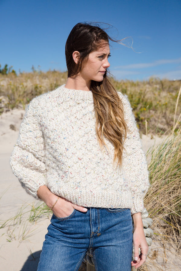 Cropped Crew Neck Wool Sweater