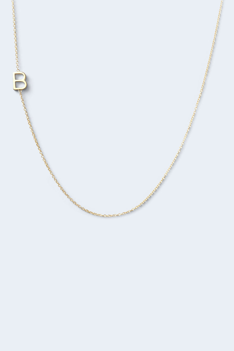 """B"" Alphabet Letter Necklace - Yellow Gold"