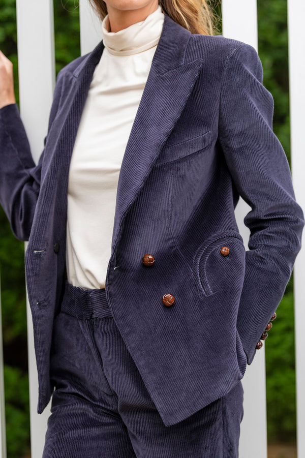 Classic Touch Purple Charmer Double Breast Blazer in Purple