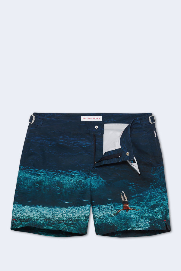 Bulldog Photographic Swim Short in Deep Sea