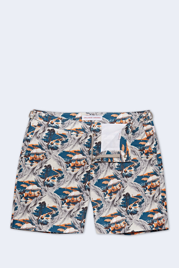 Bulldog Summer Scenes Swim Short in Alloy Aquamarine
