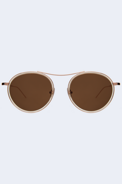 Buena Vista Ace Champagne Rose Gold Sunglasses with Brown Flat Lenses