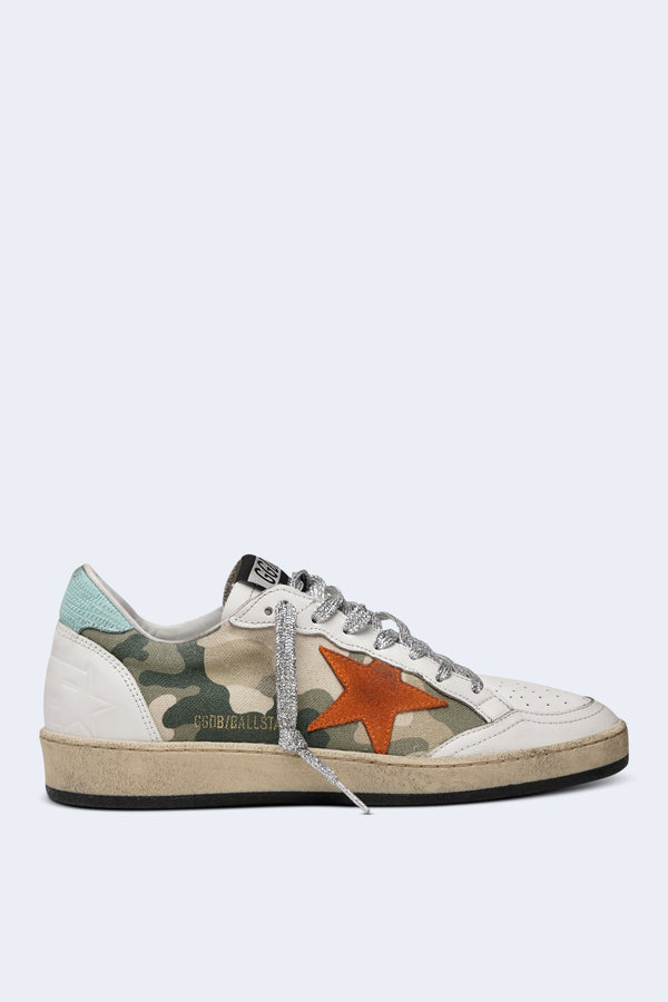 Women's Ball Star Sneakers in Camou Canvas with Orange Star and Silver Lurex Lace