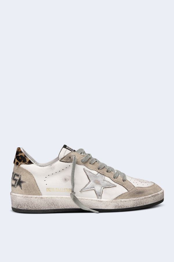 Women's Ball Star Sneakers in Pearl Suede with Horsy Silver Laminated Star