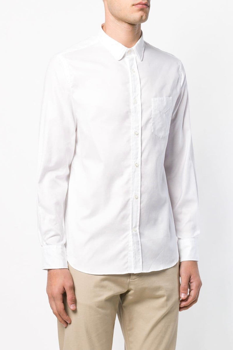 Benoit Crisp Poplin Button Down Shirt in White