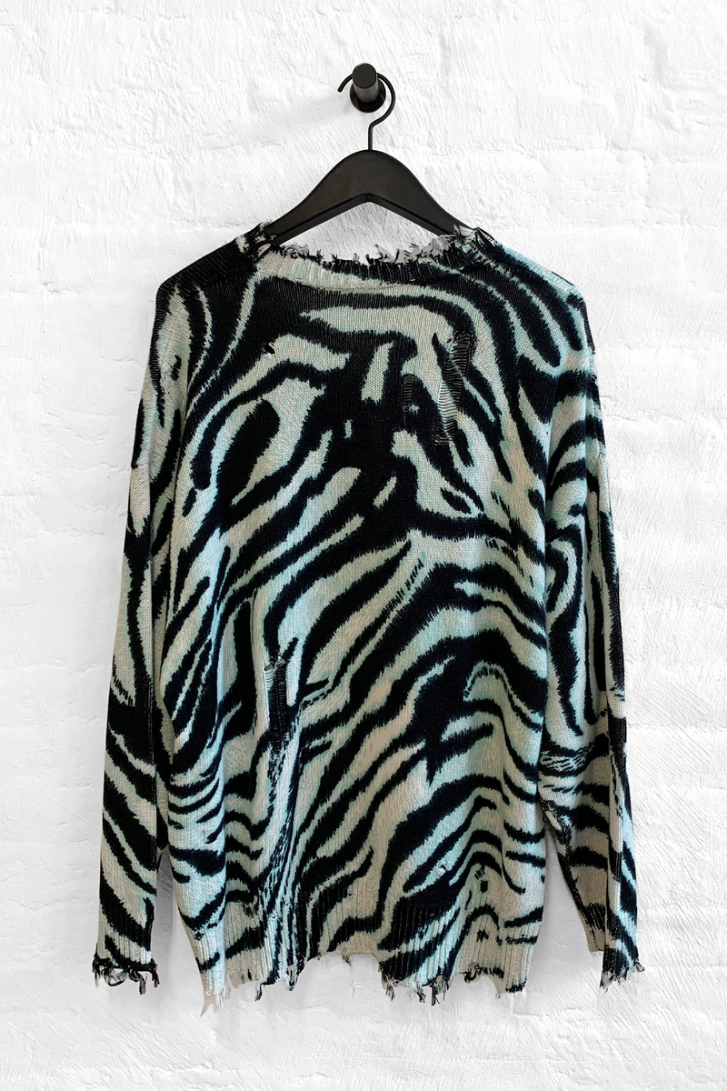 Oversized Sweater in Blue Zebra