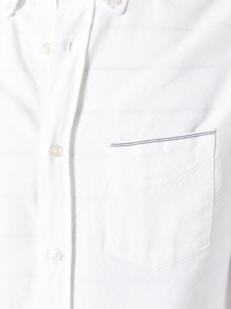 Japanese Oxford Selvedge Button Down Shirt in White Navy