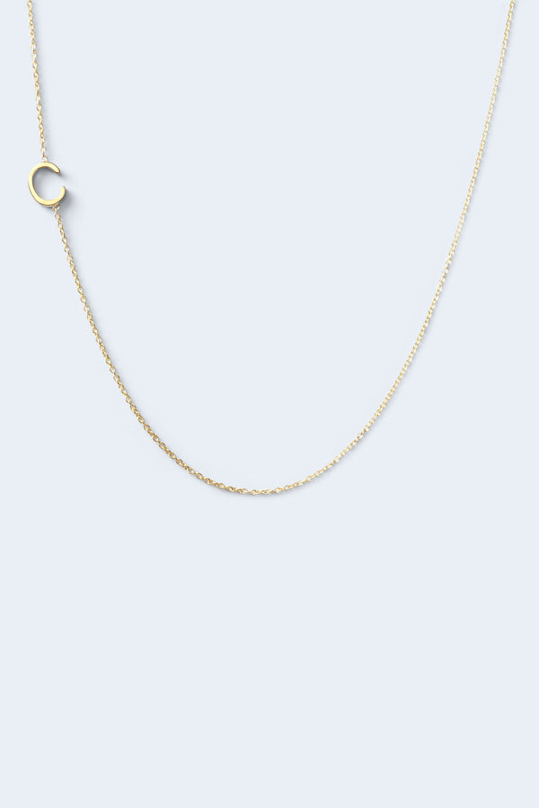 """C"" Alphabet Letter Necklace - Yellow Gold"