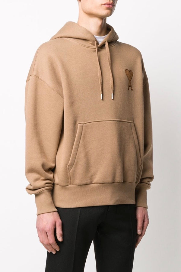Men's Boxy Fit Sweatshirt with Ami de Coeur Chain Stitch Embroidery in Beige