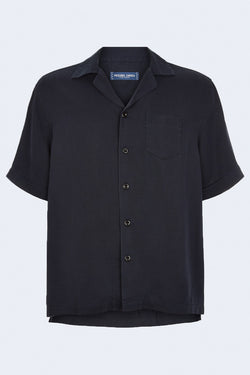 Camp Collar Short Sleeve Tencel Shirt in Petrol Blue