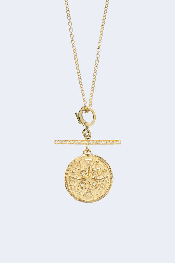 Compass Small Diamond Coin Necklace With Pave Bar