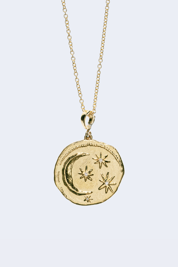 Cosmic Large Diamond Coin Necklace