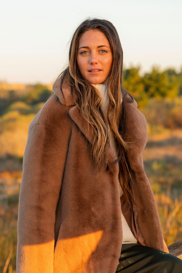 Camille Cocoon Faux Fur Soft Teddy Coat in Taupe