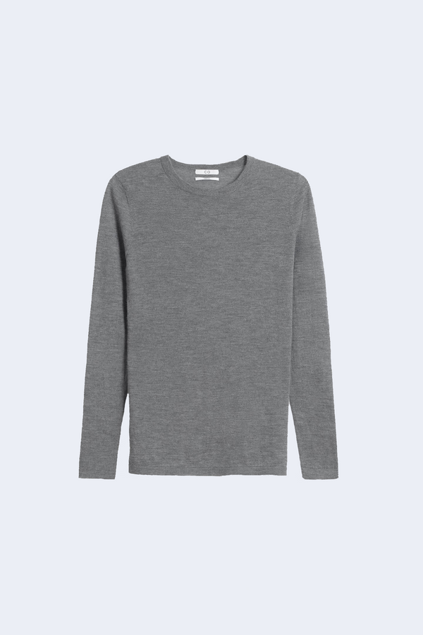 Long Sleeve Cashmere Crewneck in Heather Grey