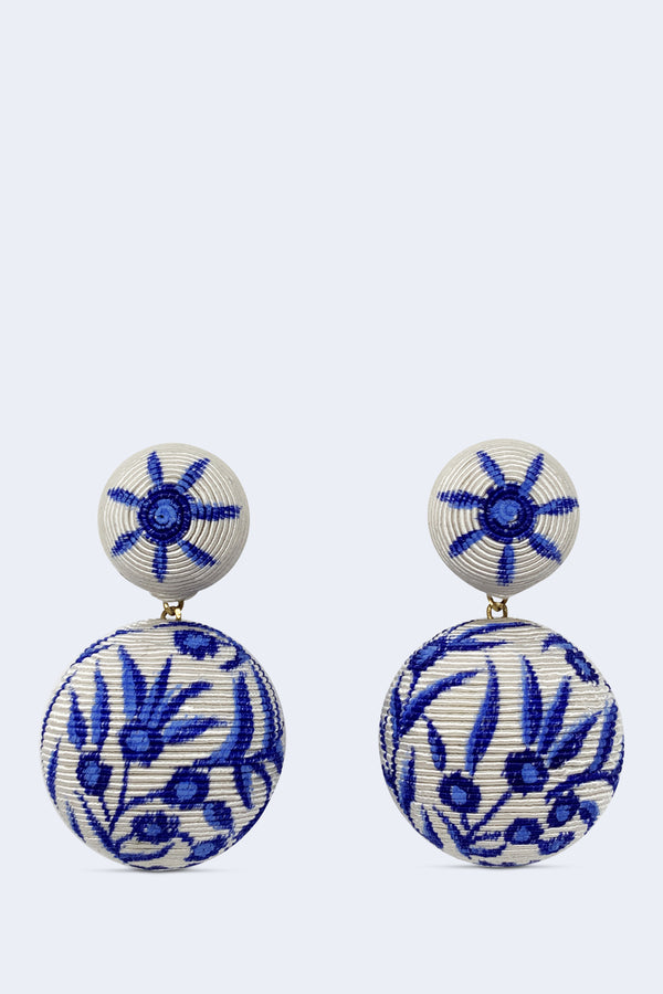 Chinoiserie Bonbons Earrings with Hand Painted Button Cording and Gold Plated Pewter Post