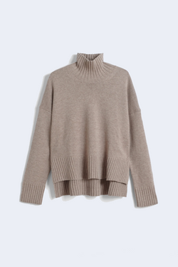 High Neck Sweater in Wool Cashmere in Taupe
