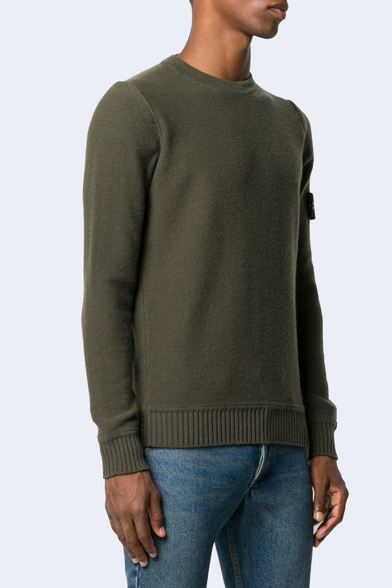 Crew Sweater with Arm Patch and Cuff Detail in Musk