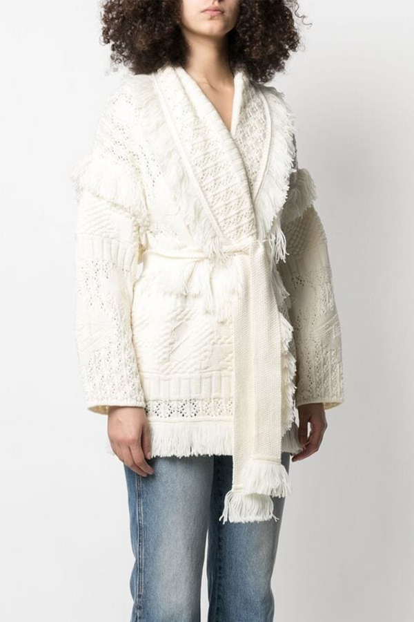 Desert Pointelle Icon Cardigan in Lapponia White