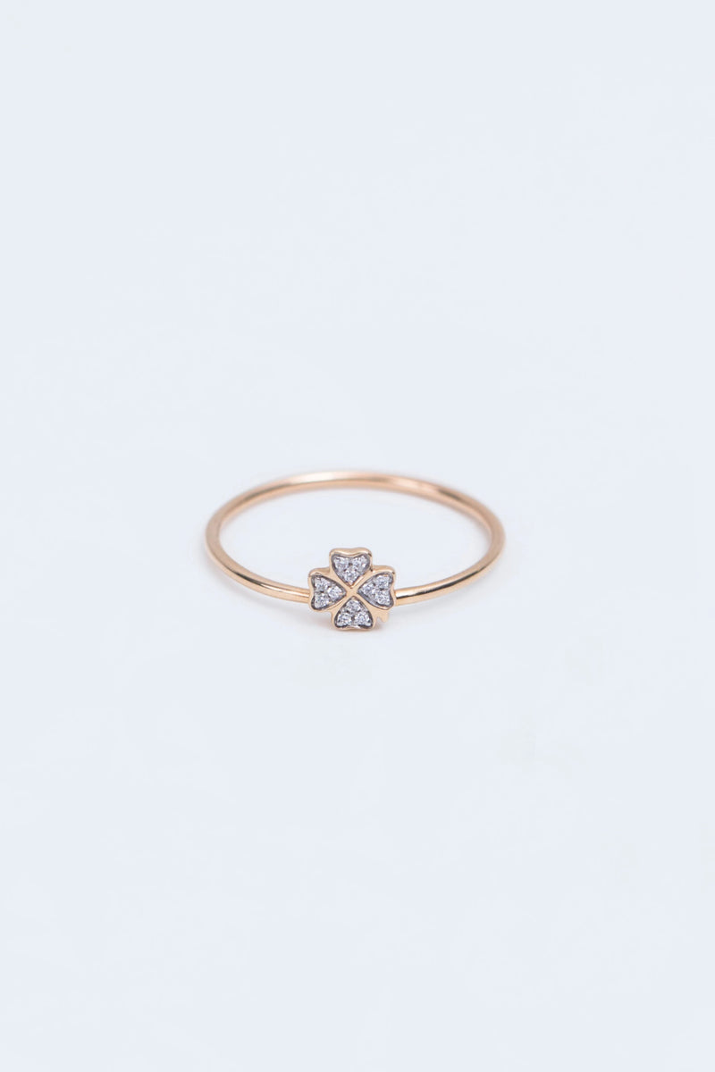 Diamond Four Leaf Clover Ring
