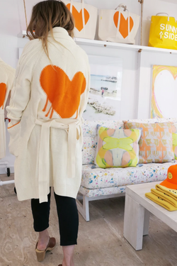 Drippy Heart Long Cardi in Vitamin