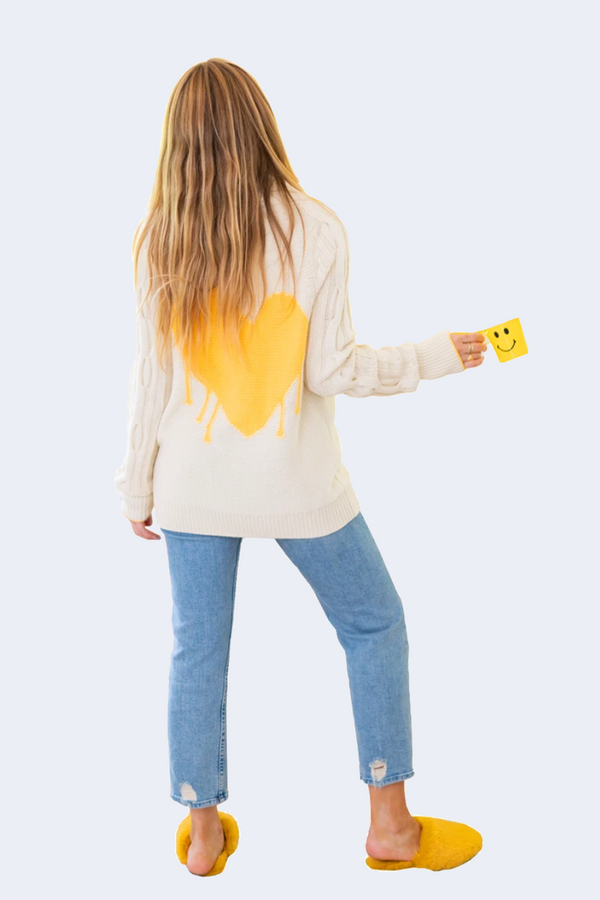 Drippy Heart Summer Cardi in Yellow