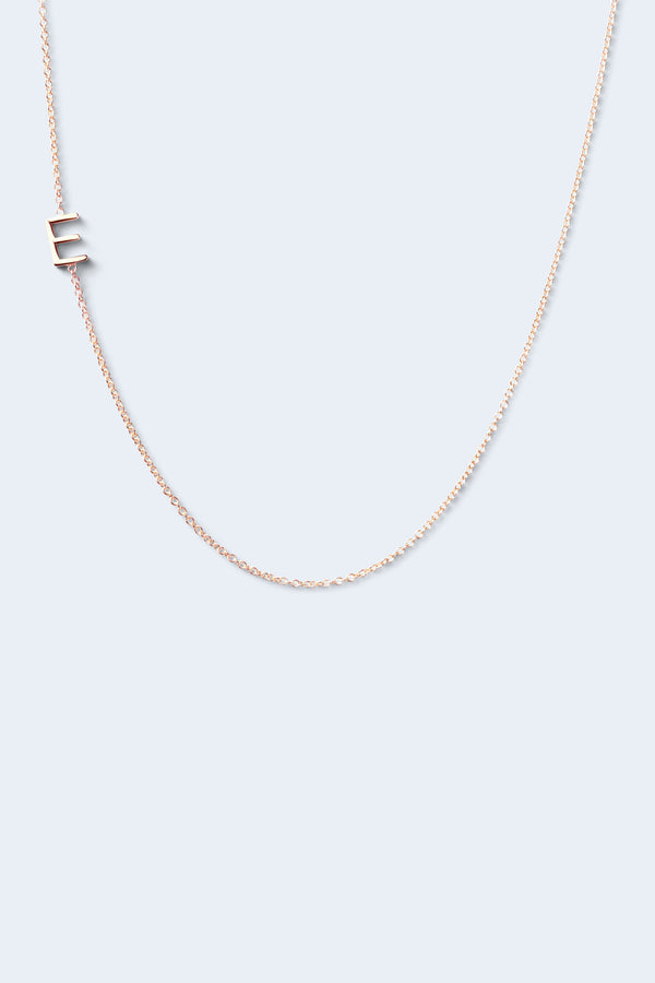"""E"" Alphabet Letter Necklace - Rose Gold"