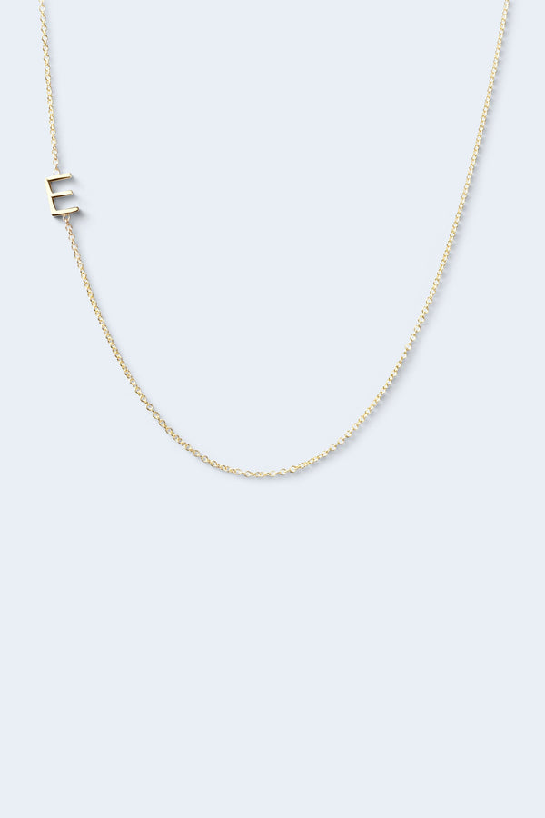 """E"" Alphabet Letter Necklace - Yellow Gold"