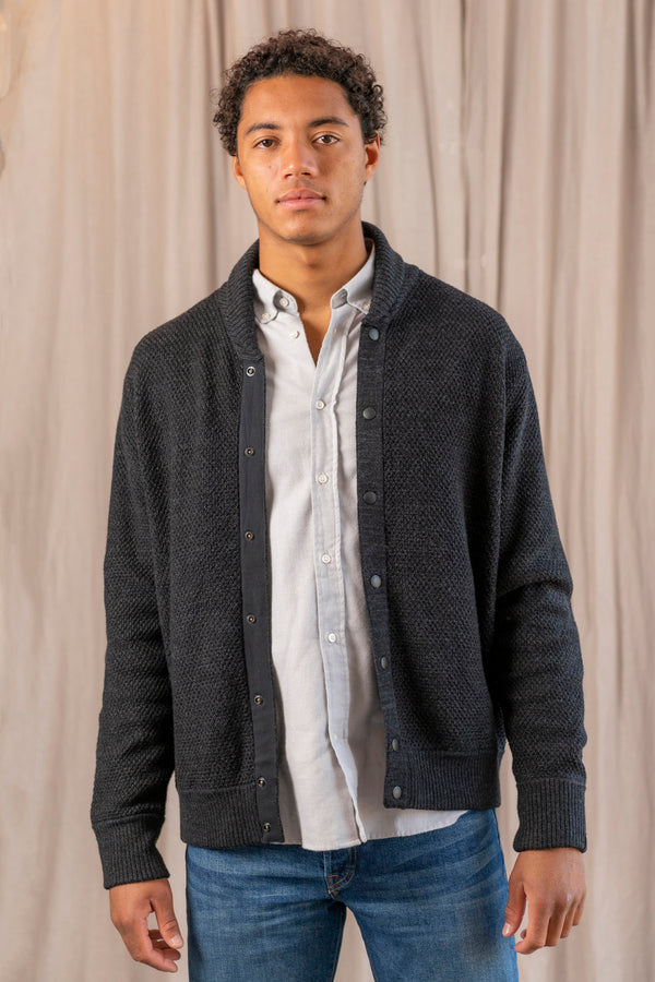 Men's Cardiff Shawl Cardigan Bomber in Charcoal