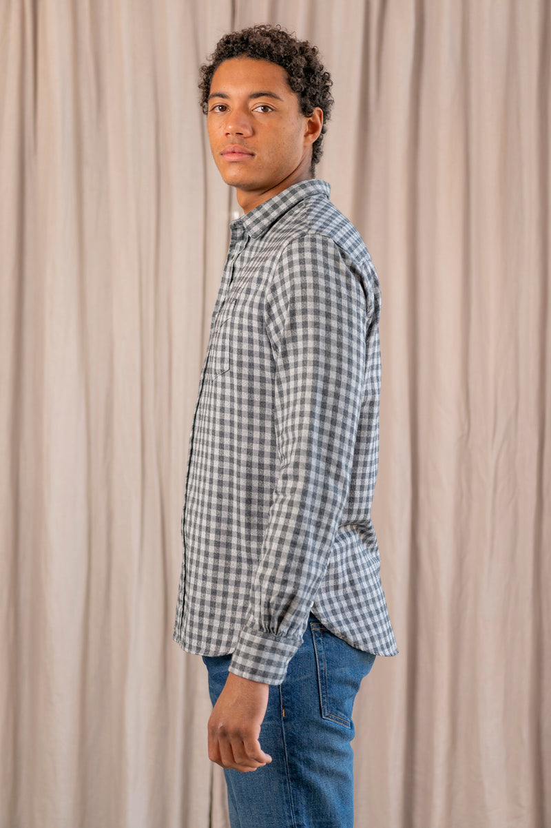 Japanese Brushed Cotton Small Check Lipp Shirt in Dark + Light Grey