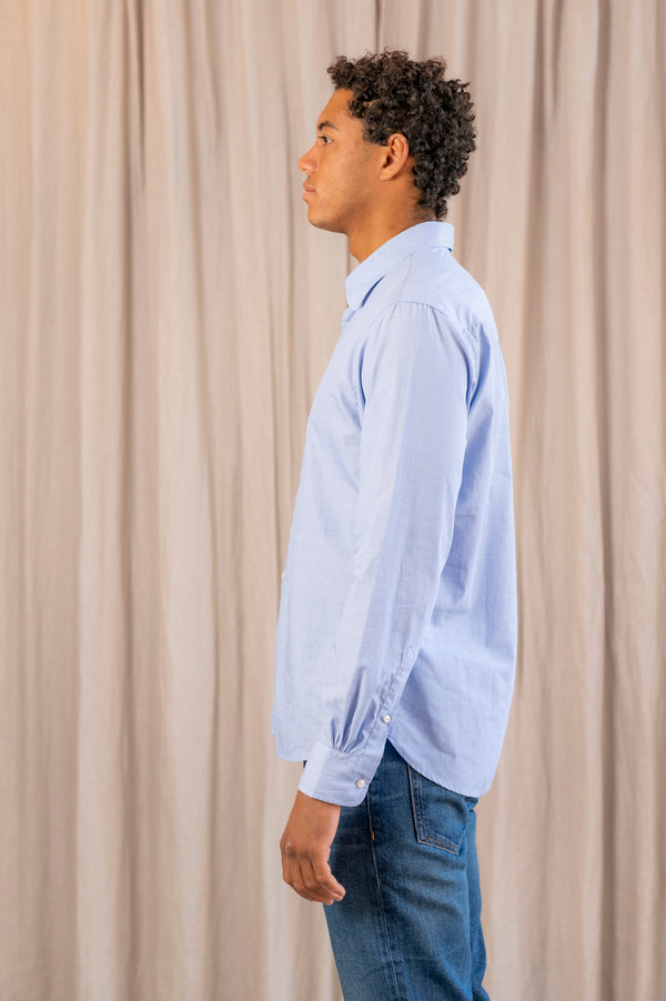 Benoit End On End Woven Shirt in Blue